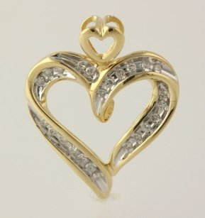 Other Diamond Heart Pendant - 10k Yellow White Gold Fine Estate Love Genuine .20ctw