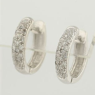 Other Diamond Hoop Earrings - 14k White Gold April Birthstone Pierced .25ctw