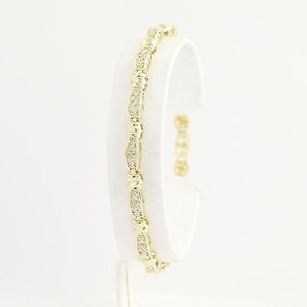 Diamond Link Bracelet 34 - 10k Yellow White Gold Lobster Claw Clasp .10ctw