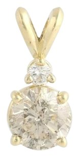 Diamond Pendant -14k Yellow Gold Champagne C2 Round Solitaire Estate 1.18ctw