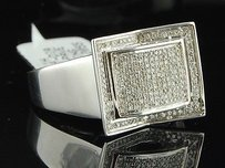 Diamond Pinky Ring Mens 10k White Gold Designer Fashion Statement Band 0.50 Ct.