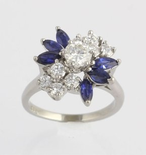 Other Diamond Sapphire Cocktail Ring 2.08ctw Quality - 14k White Gold Genuine Floral