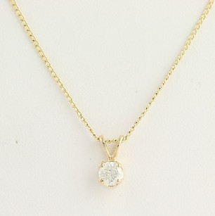 Other Diamond Solitaire Pendant Necklace 16 - 14k Yellow Gold Polished Genuine .52ctw