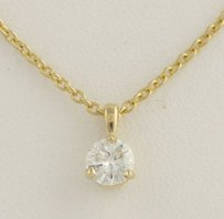 Other Diamond Solitaire Pendant Necklace 18 - 14k Yellow Gold Polished Genuine .36ctw