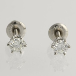 Diamond Solitaire Stud Earrings - 14k White Gold Round Natural 4.8mm .62ctw