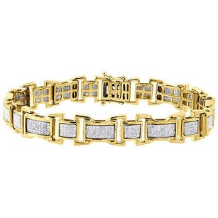 Diamond Statement Bracelet Mens Yellow Gold 8.5 Link Pave Round Cut 1.38 Ct.