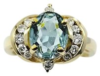 Other Diamonds Blue Topaz Ring 14k Yellow Gold 5.8 Grams