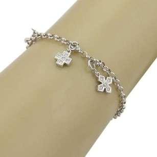 Other Diamonds Cross Clasp Charms 18k White Gold Chain Link Bracelet