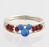 Disney Girls Mickey Ring - 925 Sterling Silver Blue Red Beads