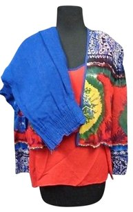 Other Dorothy Schoelen Platinum Blue Red Three Piece Pant Suit Rayon Sma8036