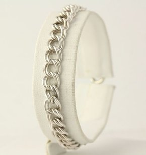 Double Rolo Chain Bracelet - 925 Sterling Silver Spring Ring Clasp Womens Fine