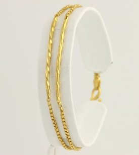 Double Strand Box Chain Bracelet 7 - 995 Yellow Gold Womens Chic Design