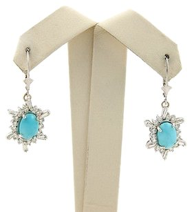 Estate 14k White Gold Turquoise Diamond Dangle Earrings