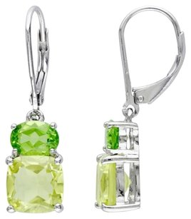 Sterling Silver Lemon Quartz Peridot Two Stacked Stones Earrings 5.94 Ct Cttw