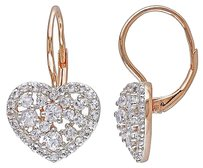 Pink Sterling Silver 3 Ct White Topaz Heart Love Leverback Earrings
