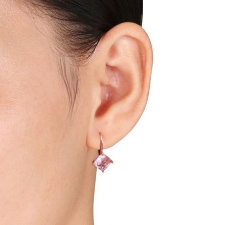 Other Rose Gold Flashed Silver Rose De France Stud Leverback Drop Earrings 3.5 Ct Tgw