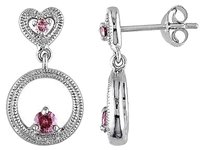 Sterling Silver 14 Ct Pink Diamond Drop Dangle Heart Love Earring