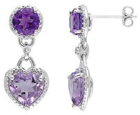Other Sterling Silver Diamond And 7 38 Ct Rose De France Amethyst Heart Stud Earrings