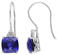 Other Amour 10k White Gold 1 Ct Princess Blue Sapphire And Diamond Drop Hook Earrings