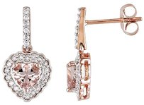 Other 10k Pink Gold 14 Ct Diamond And 1 Ct Morganite Heart Drop Earrings Gh I1i2