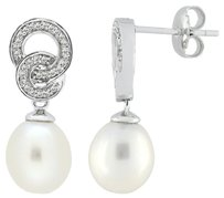 Other Sterling Silver 8 - 9 Mm Freshwater Pearl Diamond Dangle Earrings 0.08 Ct H-i I3