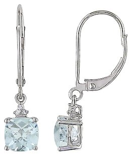 Other 10k White Gold Diamond And 1 34 Ct Tgw Aquamarine Leverback Earrings Gh I2-i3