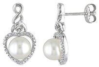 Other Sterling Silver 110 Ct Diamond 7-7.5 Mm Freshwater Pearl Heart Drop Earrings