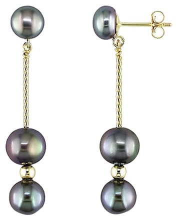 Other 14ky Drop Earrings 6-6.5mm Freshwater Black Pearls 3mm Gold Beads Butterfly