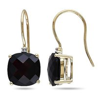 10k Yellow Gold Garnet And Diamond Accent Dangle Earrings