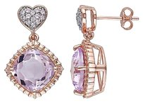 Other Pink Sterling Silver 7 14 Ct Topaz Rose De France Heart Drop Dangle Earrings
