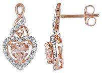 10k Pink Gold 18 Ct Diamond And Morganite Heart Love Drop Earrings Gh I2i3