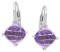 Other Sterling Silver Amethyst Stud Leverback Drop Earrings 3.5 Ct Tgw