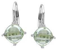 Sterling Silver Green Amethyst Stud Leverback Drop Earrings 6 Ct Tgw