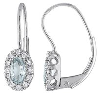 Other Sterling Silver 18 Ct Diamond 12 Ct Aquamarine Leverback Drop Stud Earrings