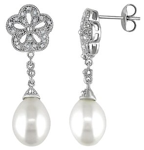 Other Silver 9.5-10mm White Freshwater Earrings I3 Ghi 0.04 Ct 3k Ear Posts