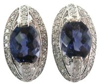 Fine Iolite Diamond White Gold Jewelry Earring 3.82ct