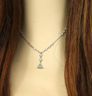 Other Elegant 1.13ct Diamonds 14k White Gold Solitaire Waccent Necklace