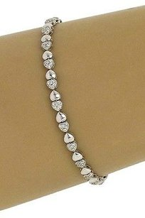 Elegant 14k White Gold .85ctw Diamond Heart Design Tennis Bracelet