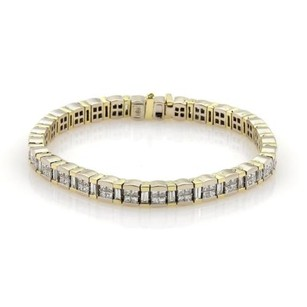 Elegant 7.5ct Princess Cut Diamonds 18k Two Tone Gold Tennis Bracelet