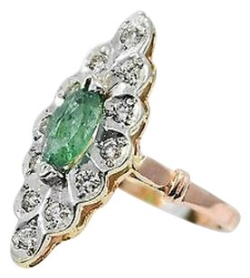 Emerald Ring 14k Rose White Gold 0.5ct Diamonds 4.3 Grams