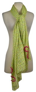 Other Erfurt Womens Green Yellow Scarf Os One Cotton Printed Casual