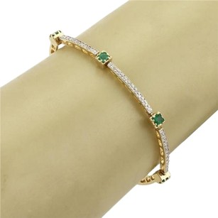Other Estate 1.06 Diamonds Emerald Curved Link Bracelet In 14k Yellow Gold