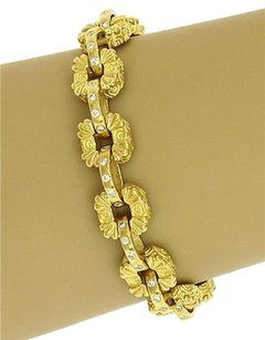 Other Estate 1.20ct Diamonds Engraved Floral Link Bracelet In 18k Yellow Gold
