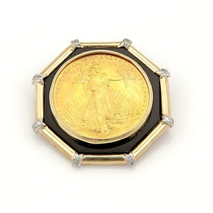 Estate 14k And 22k Yellow Gold Liberty Coin Slider Pendant With Onyx Diamonds