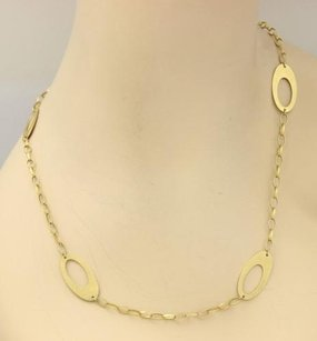 Other Estate 14k Gold Open Oval Charm Chain Link Toggle Clasp Necklace