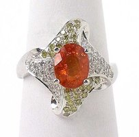 Other Estate 14k Wgold 2.45ctw Yellow White Diamond Oval Cut Orange Sapphire Ring