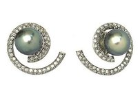 Estate 14k White Gold 1.30ct Diamond Swirl Tahitian Pearl Earrings