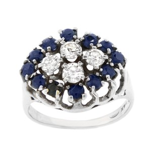 Other Estate 14k White Gold Diamond And Blue Stone Oval Ring