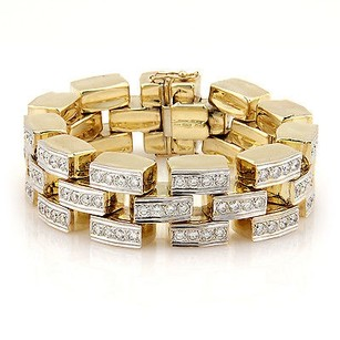 Estate 14k Yellow Gold 9ct Diamond Link Bracelet -