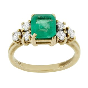 Other Estate 14k Yellow Gold Diamond And Emerald Solitaire Ring